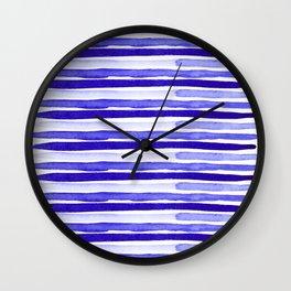 Ultra Violet Watercolour Stripes Wall Clock
