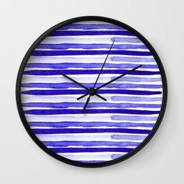Ultra Violet Watercolour Stripes Wall Clock