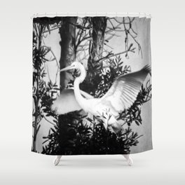 Great Egret In The Trees Shower Curtain
