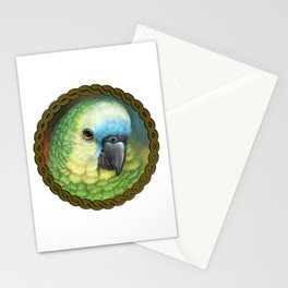 Blue fronted amazon parrot realistic painting Stationery Cards