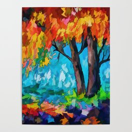Abstract Tree Mixed Media Painting Poster
