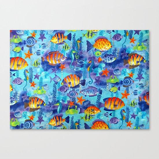 Underwater cartoon cute pattern Canvas Print