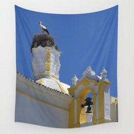 Stork and bell tower Wall Tapestry