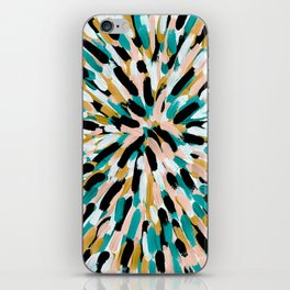 Teal, Pink, and Gold Paint Burst iPhone Skin