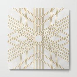 Golden stars on cream marble Metal Print