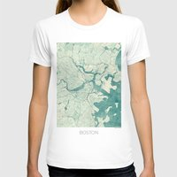 vintage map T-shirts featuring Boston Map Blue Vintage by City Art Posters