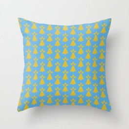 French Country Blue and Gold Ermine Spots Patterned Print Throw Pillow