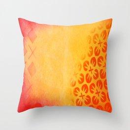 Firery Flowering Throw Pillow