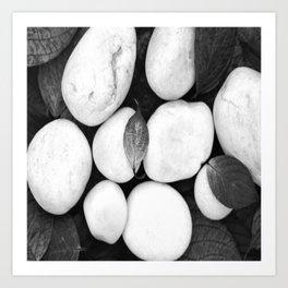 Zen White Stones On A Black Background #decor #society6 #buyart Art Print