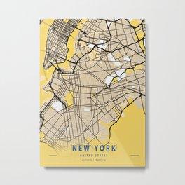 New York Yellow City Map Metal Print