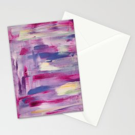 Dramatic sunset: minimal, acrylic abstract painting in purple, magenta and violet / Variation Three Stationery Cards