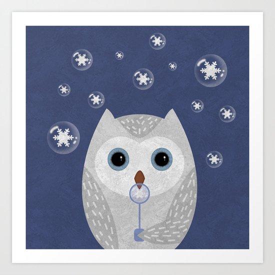 Christmas Owl Blue Marble Art Print