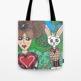 Queen of Hearts and White Rabbit Tote Bag