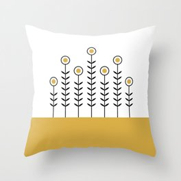 Spring Shoots (Spicy Mustard) Throw Pillow