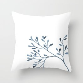 Blue watercolored sprig on white Throw Pillow