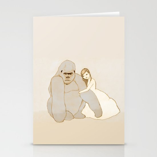 Gorilla and Girl Stationery Cards
