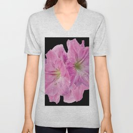 TROPICAL PINK AMARYLLIS FLOWERS ON BLACK Unisex V-Neck