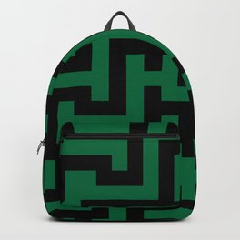 Black and Cadmium Green Labyrinth Backpack