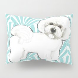 Bichon Frise at the beach / seashell blue Pillow Sham