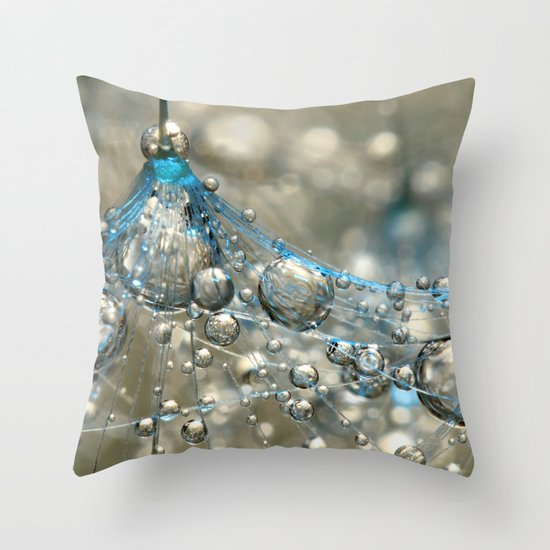 Cyan & Gold Throw Pillow
