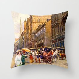 Great vintage belle epoque scene Vienna Austria  Throw Pillow