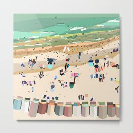 Geometric Brighton Beach bathing boxes, Melbourne, Australia Metal Print