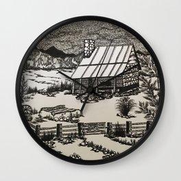 Mountain Cabin Original b/w Wall Clock