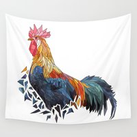 rooster Wall Tapestries featuring Rooster by JumperCat