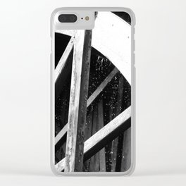 Waterwheel Gießenbach, black and white Clear iPhone Case