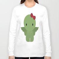 cthulu Long Sleeve T-shirts featuring Cthulu Kitty by TeiMari Arts