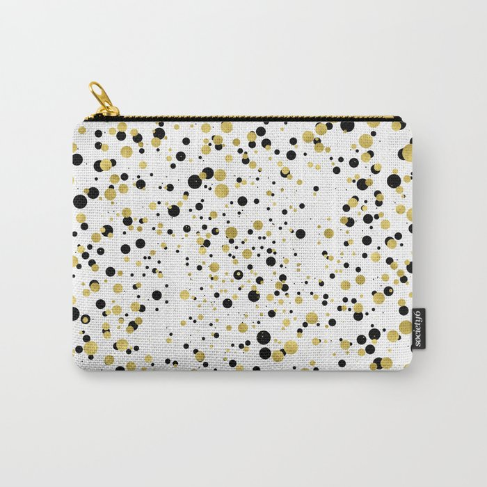 Gold and Black Confetti Carry-All Pouch