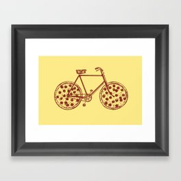 Bicycle with Pepperoni Pizza Tires Framed Art Print