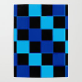 Blue & Black 3D Checkerboard Poster