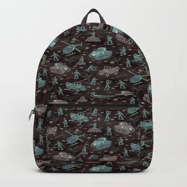 Little Green Army Soldiers on Midnight Camo Backpack