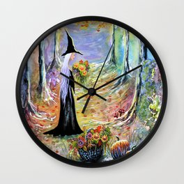 """""""Autumn Forest"""" Witch in colorful forest Wall Clock"""