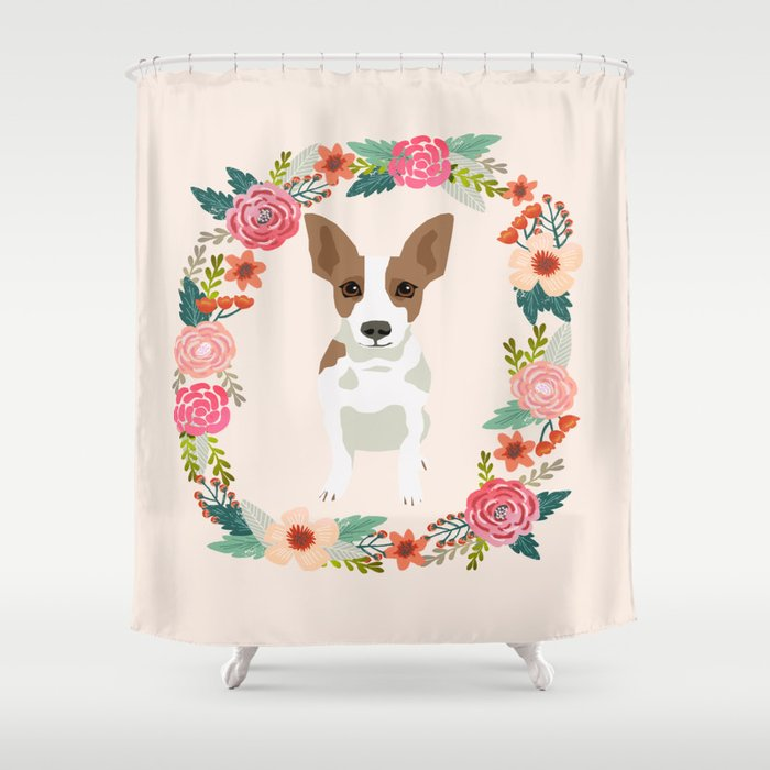rat terrier floral wreath dog breed pet portrait pure breed dog lovers Shower Curtain