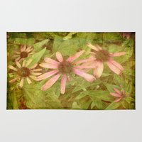 vintage flowers Area & Throw Rugs featuring Vintage Flowers by Vitta
