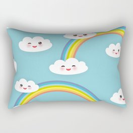 Kawaii funny white clouds set, muzzle with pink cheeks and winking eyes. blue pattern Rectangular Pillow