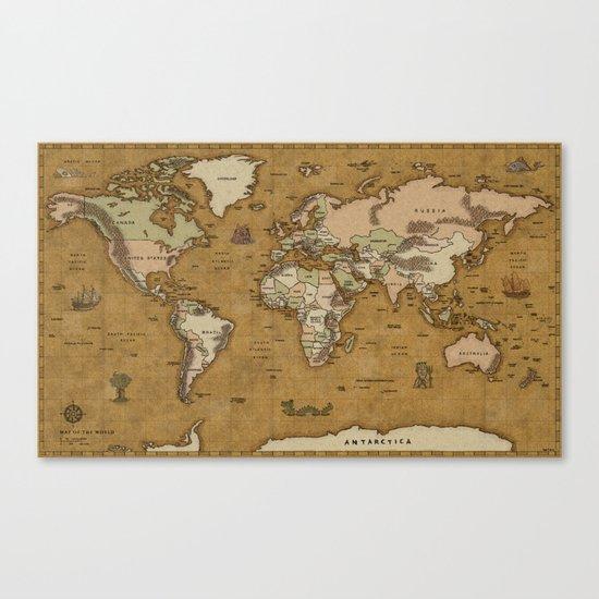 World Treasure Map Canvas Print