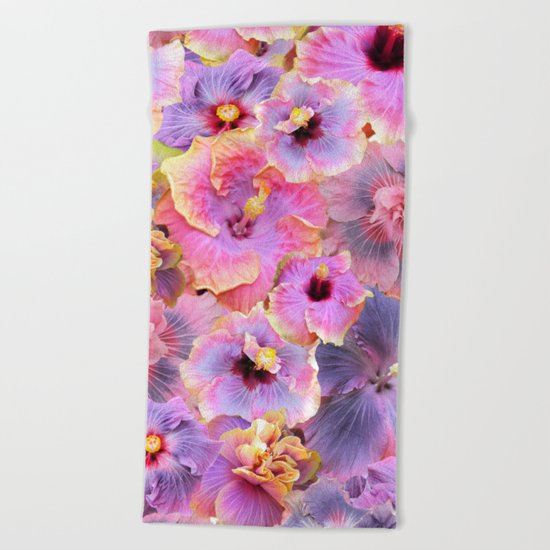 Tropical hibiscus patterns Flower Floral Flowers Beach Towel