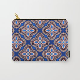 Beautiful Blue and Gold Beadwork Inspired Print Carry-All Pouch