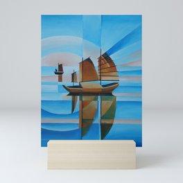 Soft Skies, Cerulean Seas and Cubist Junks Mini Art Print