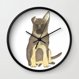 """Blue"" the German Shepherd Dog (GSD) Puppy Wall Clock"
