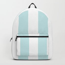 Duck Egg Pale Aqua Blue and White Wide Vertical Cabana Tent Stripe Backpack