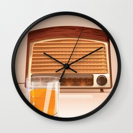 Radio & Whiskey Wall Clock