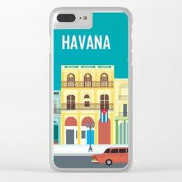 Havana, Cuba - Skyline Illustration by Loose Petals Clear iPhone Case