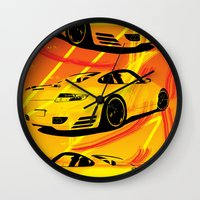 porsche Wall Clocks featuring Porsche  by deadfish