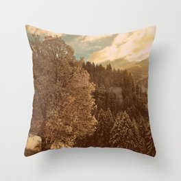 Winter sunrise over the mountains Throw Pillow