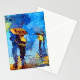 Romantic Couple Walking In Rain Artistic Painting Stationery Cards