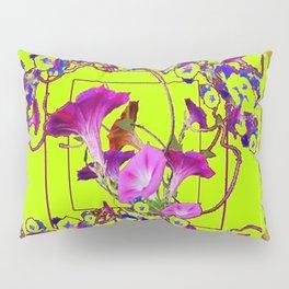 Decorative  Blue Purple Vining Flowers  Lime Green Patterns  Art Pillow Sham